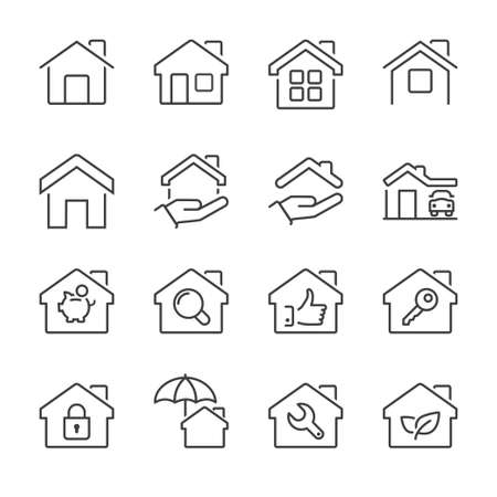 residential houses: real estate house icons set, thin line, black color