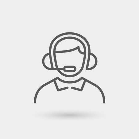 operator customer service and support icon, thin line in black color with shadow