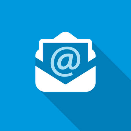 tecnology: email blue icon with shadow. tecnology background Illustration