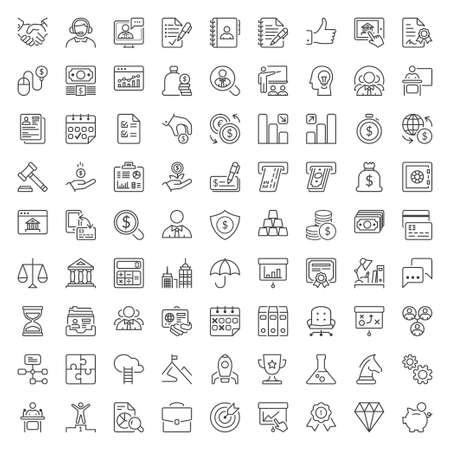 Zestaw ikon cienkich linii. Płaskie symbole dotyczące biznesu i finansów