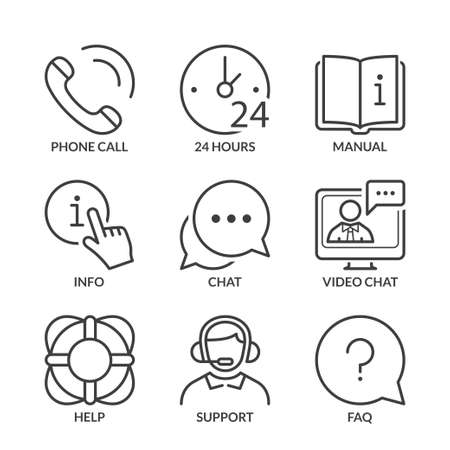 contact center: call center, contact and support icons set, thin line, black color Illustration