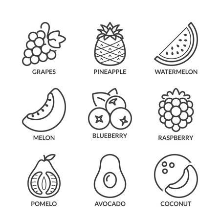 nutrition icon: basic fruits thin line icons set. isolated. black color