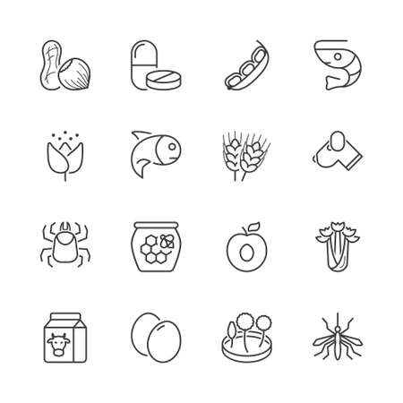 alergenos: basic allergens thin line icons set. isolated. black color