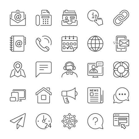 Podstawowym kontakt i komunikacja zestaw ikon, cienka linia, kolor czarny