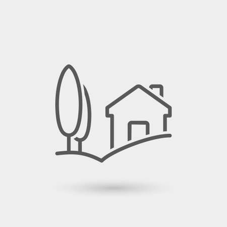 country house: country house, landscape icon, thin line icon, black color with shadow