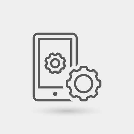mobile app: mobile app development thin line icon, black color with shadow