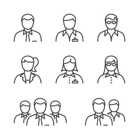 mensen uit het bedrijfsleven lijn icon set in het zwart voor het bedrijfsleven, kantoor en human resources. Stock Illustratie