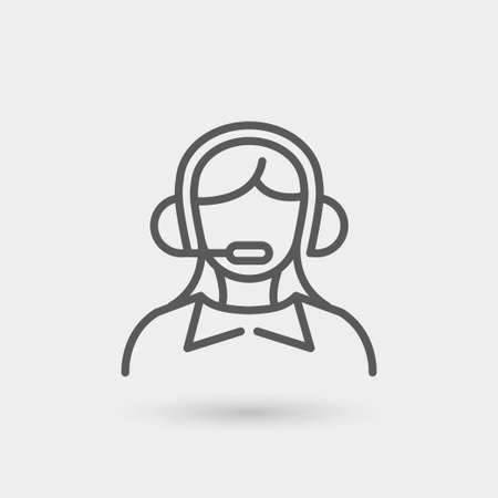 telephone operator: telephone operator icon, thin line in black color with shadow Illustration