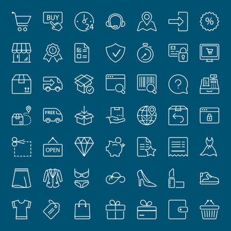 compras y envío iconos conjunto, línea fina, de color blanco Ilustración de vector
