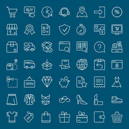 wish list: shopping and shipping icons set, thin line, white color Illustration