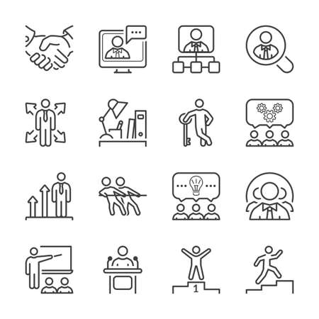 brain storming: business people line icon set in black for business, office & human resources. Illustration