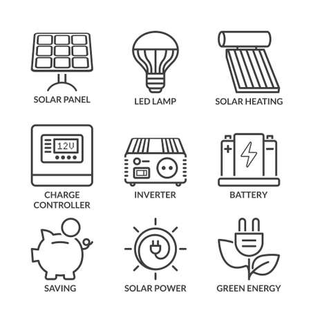 basic solar energy equipment, thin line icon set isolated. black color