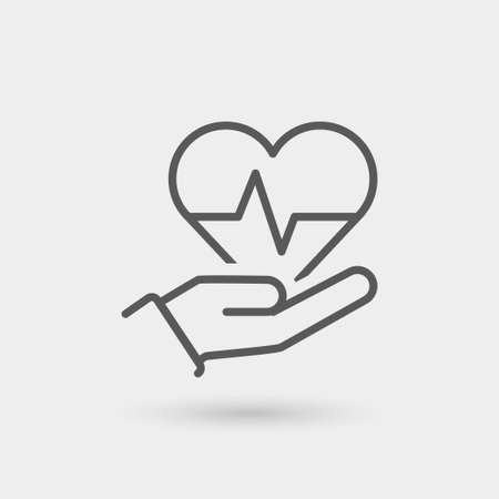 protection hands: health insurance thin line icon. isolated. black color Illustration