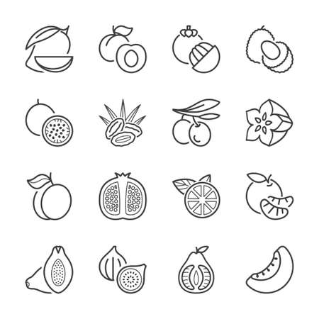 dates fruit: basic fruits thin line icons set. isolated. black color