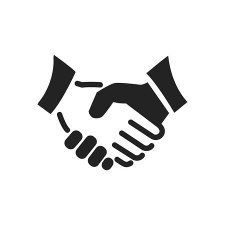 black handshake line and solid icon. background for business and finance Vectores