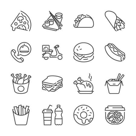 기본 패스트 푸드 얇은 선 아이콘을 설정합니다. 외딴. 레스토랑과 패스트 푸드 검은 색,
