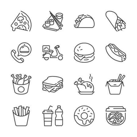 delivery icon: basic fast food thin line icon set. isolated. black color, for restaurants and fast food outlets