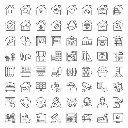 nieruchomości i budynku ikony ustaw, cienka linia, kolor czarny