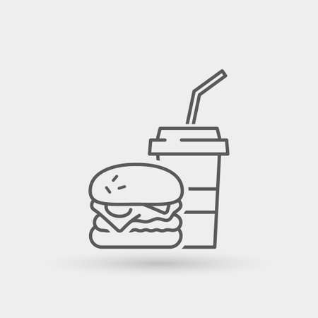 menu icon: burger menu thin line icon. isolated. black color, for restaurants and fast food outlets