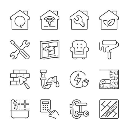 flooring: home improvement and repair thin line icon set, black color, isolated