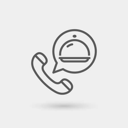 ordering: order food thin line icon. isolated. black color