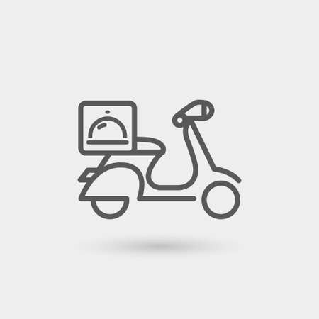 food delivery thin line icon. isolated. black color