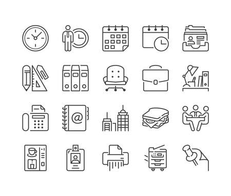 shredder machine: office and business thin line icon set, black color, isolated Illustration