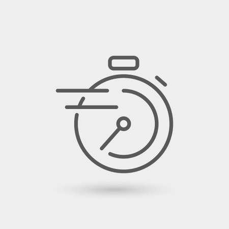 cronómetro, un servicio rápido icono de línea delgada, de color negro, aislado