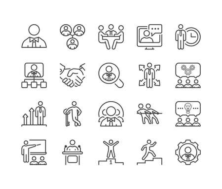 les gens d'affaires mince icône de la ligne définie en noir pour les affaires, le bureau et les ressources humaines.
