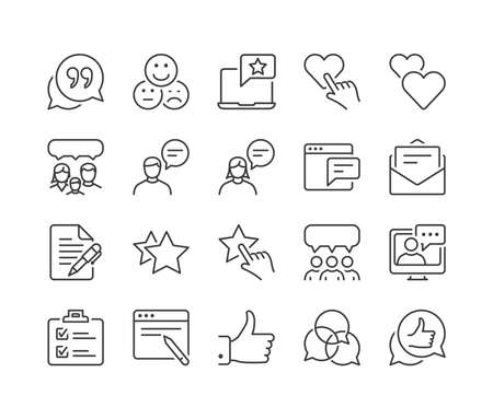 feedback and testimonials thin line icon set, black color, isolated 向量圖像