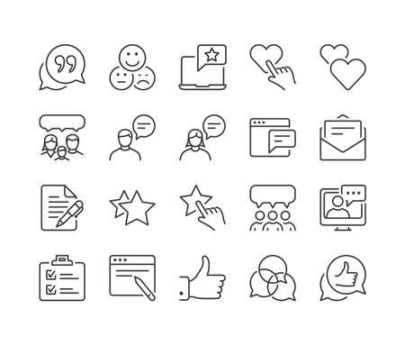 feedback en getuigenissen dunne lijn icon set, zwarte kleur, geïsoleerd