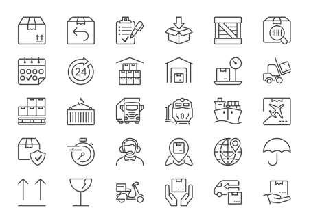 set di icone isolato per la logistica, spedizione e trasporto Vettoriali