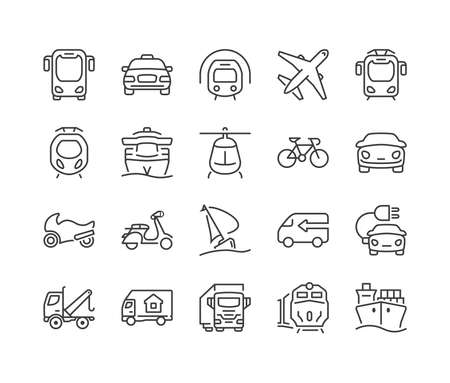 delivery icon: set of icons isolated for logistics,delivery and transportation public and private