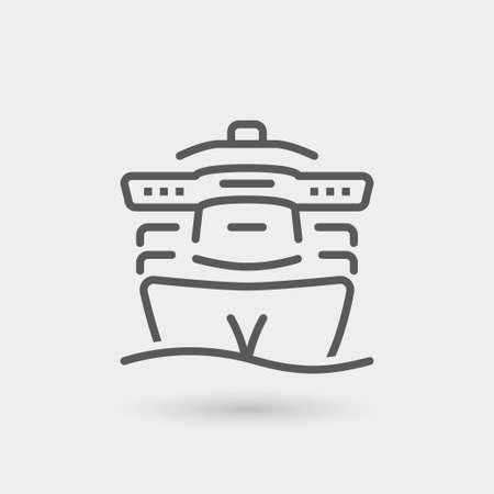 passenger transportation: Transatlantic trip thin line icon, black color, isolated Illustration