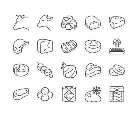 Różne rodzaje wołowiny i cielęciny, zestaw ikon cienka linia, kolor czarny, na białym tle