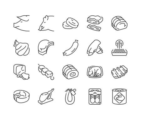 Arten von Schweinefleisch und Fleischprodukte dünne Linie Icons, schwarze Farbe, isoliert Vektorgrafik