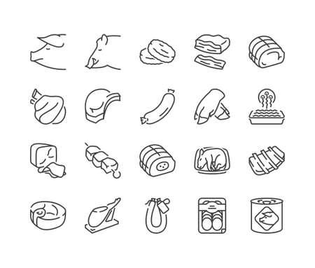 Rodzaje wieprzowiny i produktów mięsnych cienka linia ikony, kolor czarny, na białym tle Ilustracje wektorowe