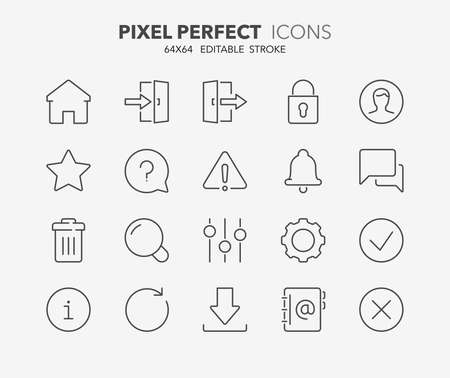 adress: Set of interface line icons. Contains icons as settings, log in, user, search, download and more. Editable stroke. 64x64 Pixel Perfect.