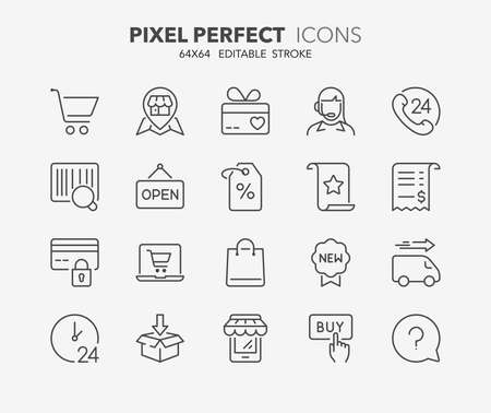 online purchase: Set of contact and support thin line icons. Contains icons as phone call, customer, 24 hrs, email, faq and more. Editable stroke. 64x64 Pixel Perfect.