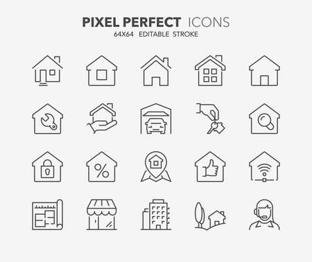 residential houses: Set of real estate and homes thin line icons. Contains icons as area, hand holding key, smart home, contact and support, apartments and more. Editable stroke. 64x64 Pixel Perfect. Illustration