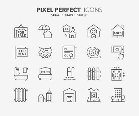 house exchange: Set of real estate and homes thin line icons. Contains icons as land for sale, business office, insurance, deed of sale, apartments and more. Editable stroke. 64x64 Pixel Perfect. Illustration