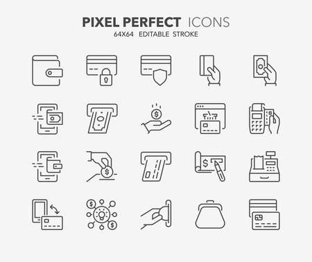 pay money: Set of money and payment methods thin line icons. Contains icons as pay online, bank check, mobile wallet, mobile payment, credit card and more. Editable stroke. 64x64 Pixel Perfect. Illustration