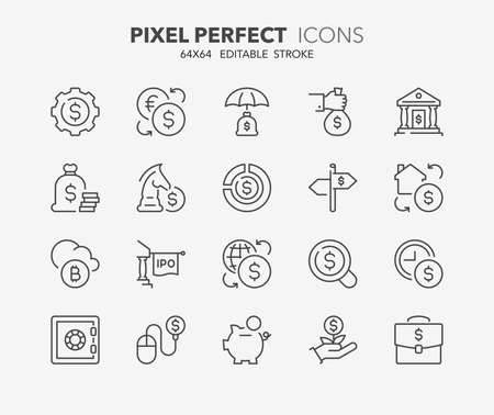 initial public offering: Set of money and financial thin line icons. Contains icons as e-banking, stock exchange, initial public offering, investment portfolio, real estate investment and more. Editable stroke. 64x64 Pixel Perfect.