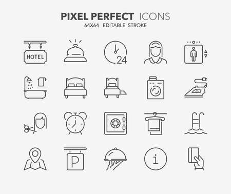 Set of hotel service amenities thin line icons. Contains icons as cleaning service, room service, hairdressing, ironing, laundry and more. Editable vector stroke. Illustration
