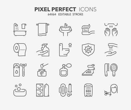 compress: Set of hygiene and cleaning thin line icons. Contains icons as health care, antibacterial cleaning, corporal hygiene, dental hygiene and more. Editable vector stroke.