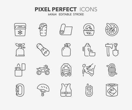 cooler: Set of outdoor and camping activities thin line icons. Contains icons as mycological tourism, survival equipment, quad bike, climbing equipment and more. Editable vector stroke. Illustration