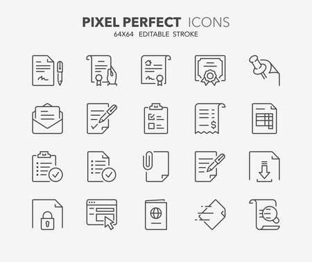 Conjunto de actividades al aire libre y ecoturismo, línea fina iconos. Contiene iconos como contrato, certificado, archivo adjunto, factura, escritura de venta y más. Editable vector stroke. 64x64 Pixel perfecto.