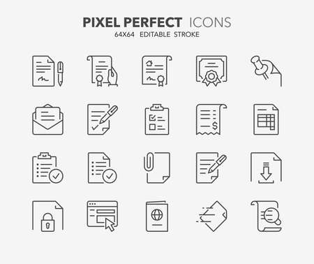 Set of outdoor and ecotourism activities, thin line icons. Contains icons as contract, certificate, attachment, invoice, deed of sale and more. Editable vector stroke. 64x64 Pixel Perfect.