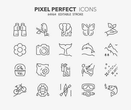 Set of outdoor and ecotourism activities, thin line icons. Contains icons as fauna and flora observation, national parks, jurassic fossil, sport fishing, perseids and more. Editable vector stroke. 64x64 Pixel Perfect. Illustration