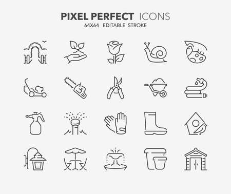 Set of gardening and seeding activities, thin line icons. Contains icons as garden, sprinkler irrigation, outdoor lighting ,garden shed, tools and more. Editable vector stroke. 64x64 Pixel Perfect.